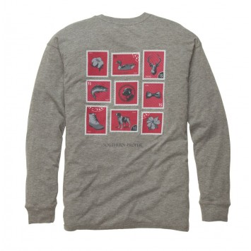Southern Stamp Tee: Heather Grey Long Sleeve